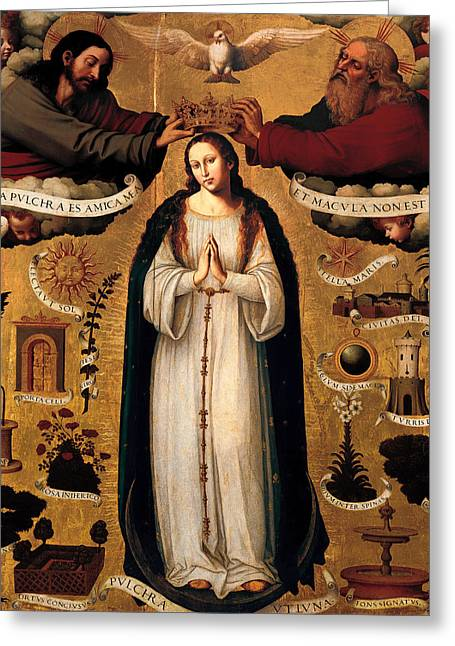 Religious work Paintings Greeting Cards - The Immaculate Conception Greeting Card by Joan de Joanes
