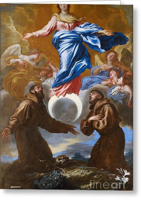Francis Greeting Cards - The Immaculate Conception with Saints Francis of Assisi and Anthony of Padua Greeting Card by Il Grechetto