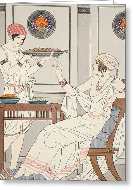 Lifestyle Drawings Greeting Cards - The Immoderate Consumption of Sesame Cakes and Sweets with Honey Greeting Card by Joseph Kuhn-Regnier