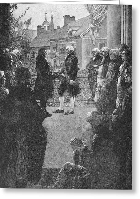 Presidential Photographs Greeting Cards - The Inauguration, Engraved By Francis Scott King, Illustration From Washingtons Inauguration Greeting Card by Howard Pyle