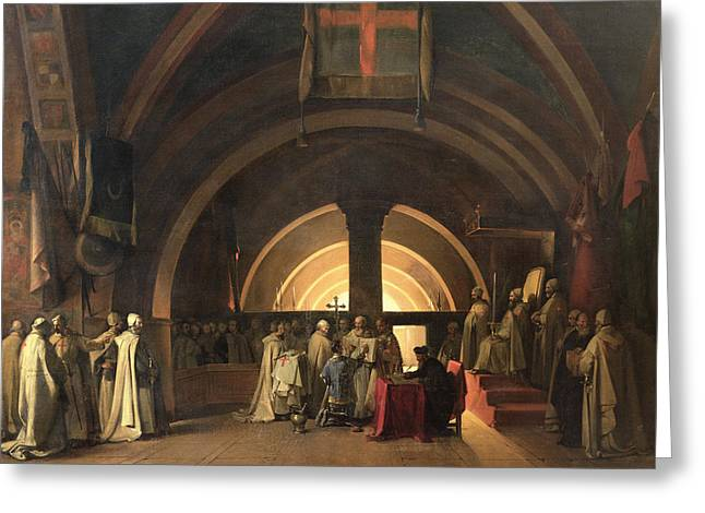 Oath Greeting Cards - The Inauguration Of Jacques De Molay Into The Order Of Knights Templar In 1295 Oil On Canvas Greeting Card by Francois-Marius Granet