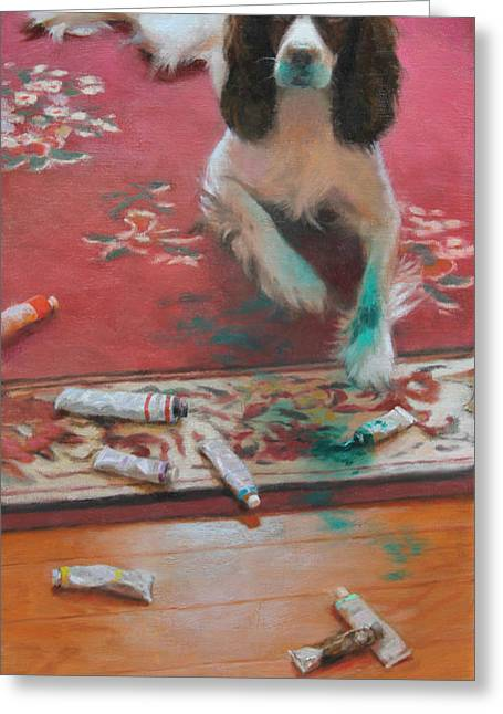 Dog Artists Greeting Cards - The Incident Greeting Card by Anna Bain