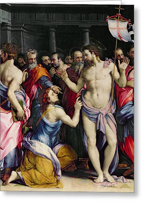 Resurrected Lord Greeting Cards - The Incredulity of Saint Thomas Greeting Card by Francesco de Rossi Salviati Cecchino