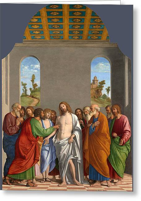 Incredulity Paintings Greeting Cards - The Incredulity of Saint Thomas Greeting Card by Giovanni Battista Cima