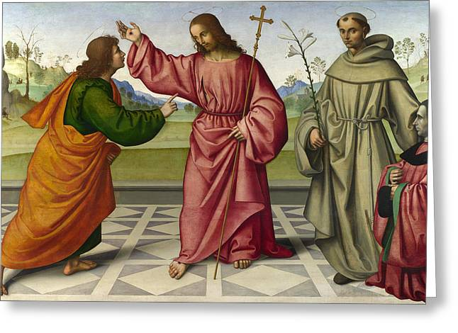 Incredulity Paintings Greeting Cards - The Incredulity of Saint Thomas Greeting Card by Giovanni Battista da Faenza