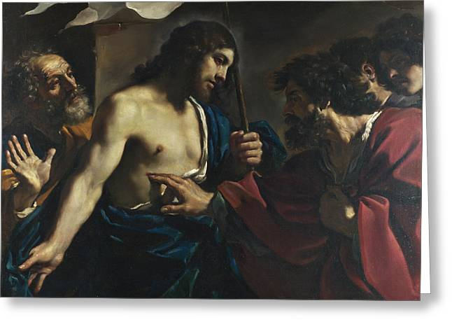 Incredulity Paintings Greeting Cards - The Incredulity of Saint Thomas Greeting Card by Guercino