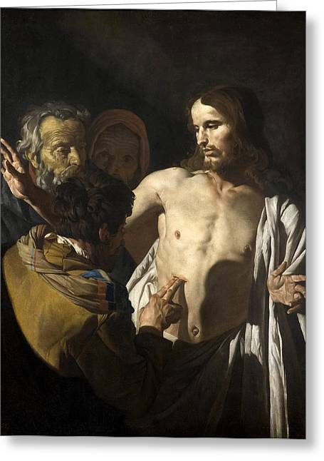 Incredulity Paintings Greeting Cards - The Incredulity of Saint Thomas Greeting Card by Matthias Stom