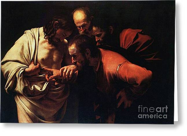 The Incredulity Of Saint Thomas Greeting Card by Pg Reproductions