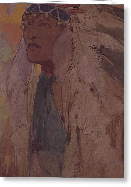 Indian Headdress Greeting Cards - The Indian, 1904 Wc On Paper Greeting Card by Alphonse Marie Mucha