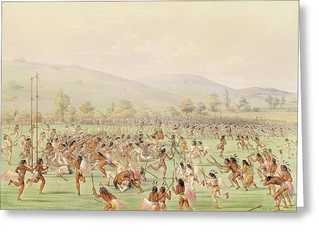 The Indian Ball Game, C.1832 Colour Litho Greeting Card by George Catlin