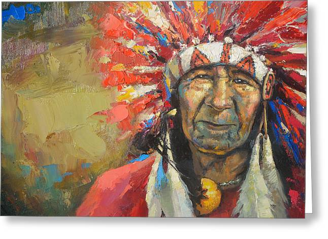 Decorativ Greeting Cards - The Indian chief Greeting Card by Dmitry Spiros