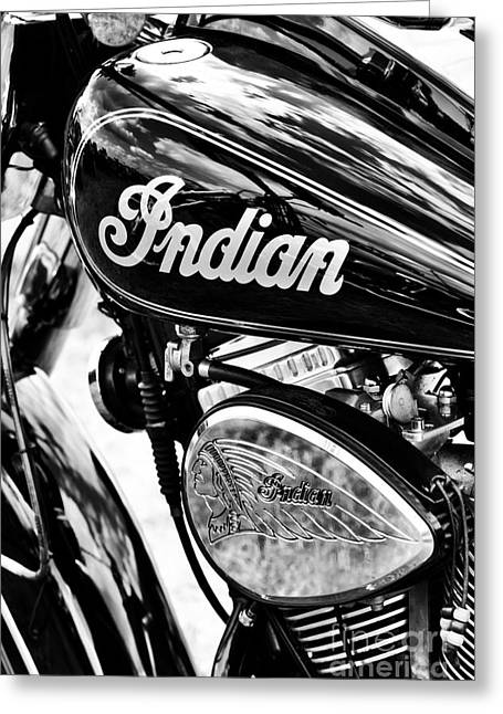 Monochrome Greeting Cards - The Indian Chief Greeting Card by Tim Gainey