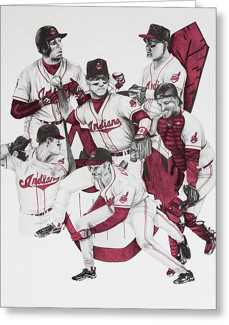 Manny Ramirez Drawings Greeting Cards - The Indians Glory Years-Late 90s Greeting Card by Joe Lisowski