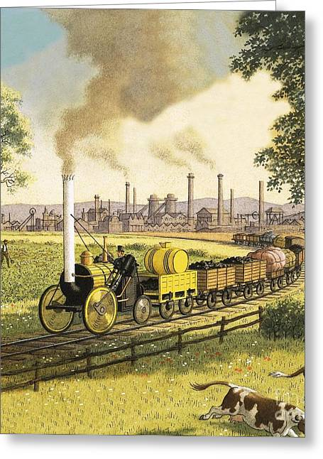 Revolution Drawings Greeting Cards - The Industrial Revolution Greeting Card by Ronald Lampitt