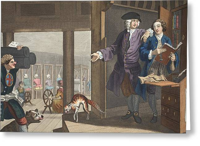 Moral Drawings Greeting Cards - The Industrious Prentice A Favourite Greeting Card by William Hogarth