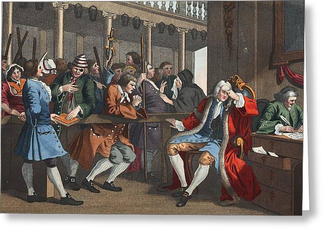 Trial Greeting Cards - The Industrious Prentice Alderman Greeting Card by William Hogarth
