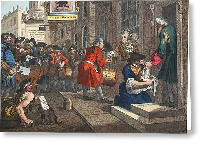 Moral Drawings Greeting Cards - The Industrious Prentice Greeting Card by William Hogarth