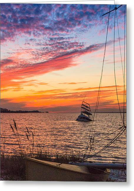 Navarre Beach Photographs Greeting Cards - The Infamous Sunken Boat of Navarre Beach FL Greeting Card by Irene Nicole Photography