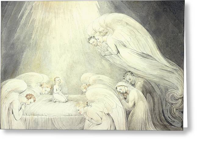 Virgin Mary Drawings Greeting Cards - The Infant Jesus Saying His Prayers Greeting Card by William Blake