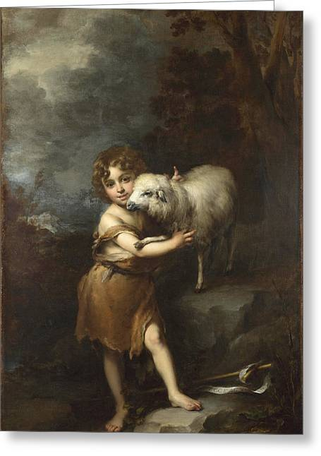 Bartolome Esteban Murillo Greeting Cards - The Infant Saint John with the Lamb Greeting Card by Bartolome Esteban Murillo