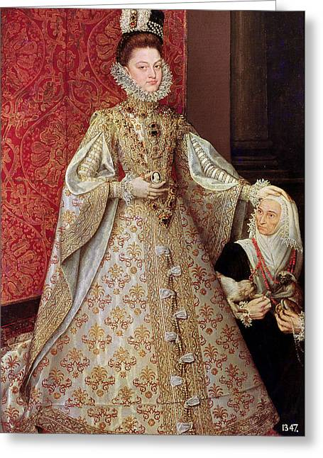 Full-length Portrait Greeting Cards - The Infanta Isabel Clara Eugenia 1566-1633 With The Dwarf, Magdalena Ruiz, C.1580 Oil On Canvas Greeting Card by Alonso Sanchez Coello