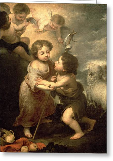 Putto Greeting Cards - The Infants Christ And John The Baptist Oil On Canvas Greeting Card by Bartolome Esteban Murillo
