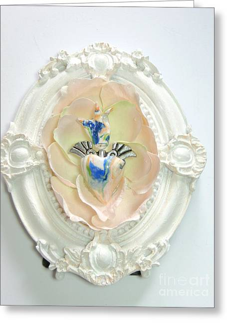 Spiritual Art Reliefs Greeting Cards - The inflamed rose heart Greeting Card by Heidi Sieber