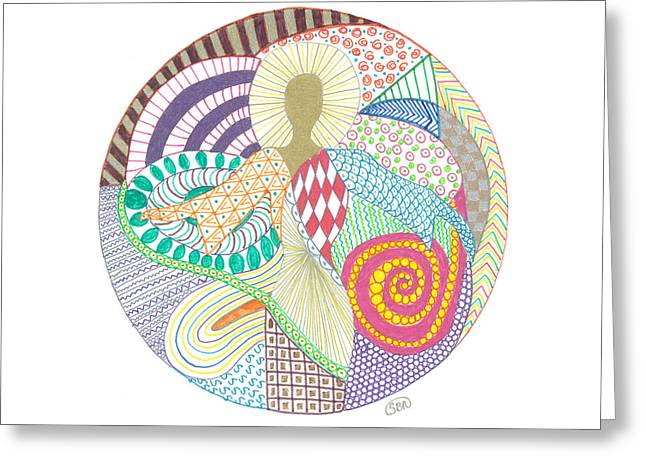 Ocean. Reflection Drawings Greeting Cards - The inner goddess Greeting Card by Signe  Beatrice