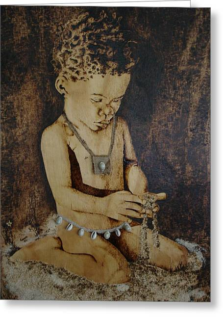 Innocence Pyrography Greeting Cards - The Innocent Greeting Card by Zvaitika Muwani