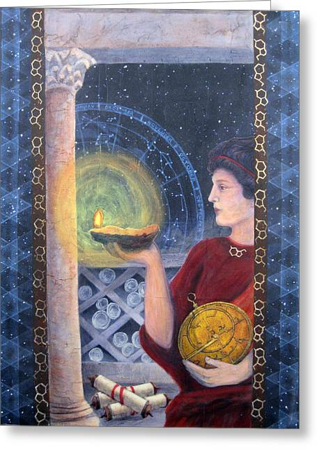 Innovator Greeting Cards - The Innovator of Stars - Artwork for the Science Tarot Greeting Card by Janelle Schneider