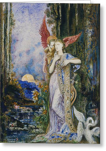 Swans... Greeting Cards - The Inspiration  Greeting Card by Gustave Moreau