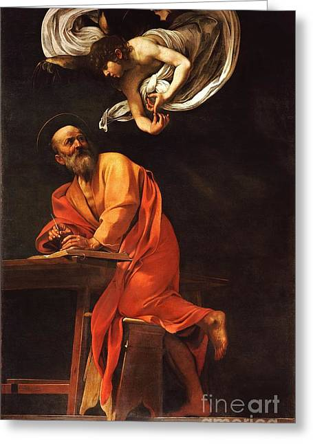 Baroque Greeting Cards - The Inspiration of Saint Matthew Greeting Card by Pg Reproductions