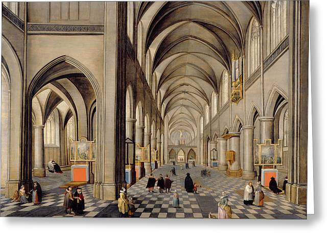Religious Paintings Greeting Cards - The Interior Of A Gothic Church Greeting Card by Hendrik the Younger Steenwyck