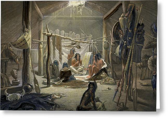 Husky Greeting Cards - The Interior of a Hut of a Mandan Chief Greeting Card by Karl Bodmer