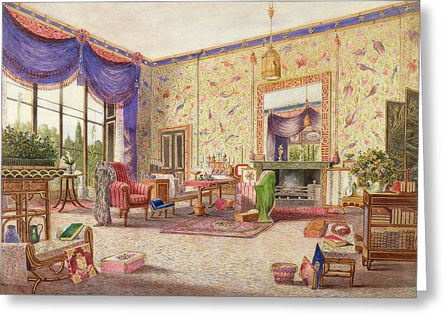 Draped Greeting Cards - The Interior Of The Chinese Drawing Greeting Card by William Alfred Delamotte