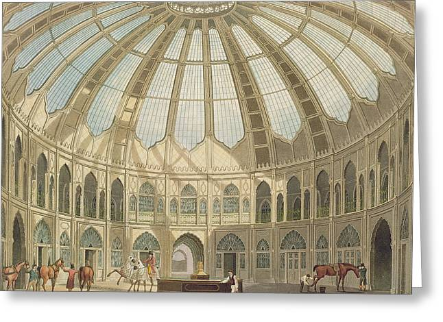 Wales Prints Greeting Cards - The Interior of the Stables Greeting Card by John Nash