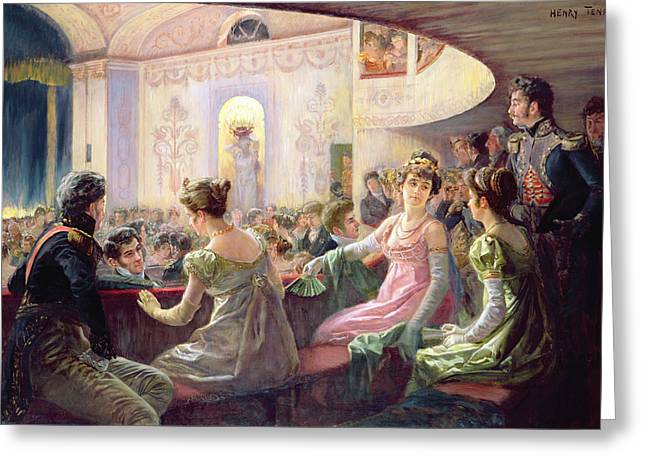 Costume Photographs Greeting Cards - The Interval At The Theatre Oil On Canvas Greeting Card by Charles Henry Tenre