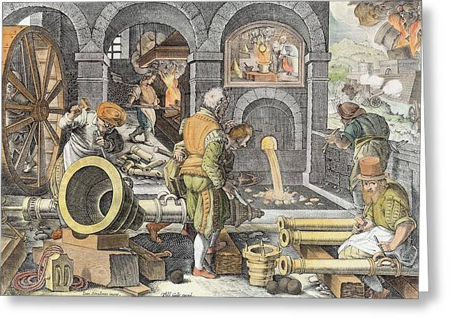 Foundry Greeting Cards - The Invention Of Gunpowder Greeting Card by Jan van der Straet