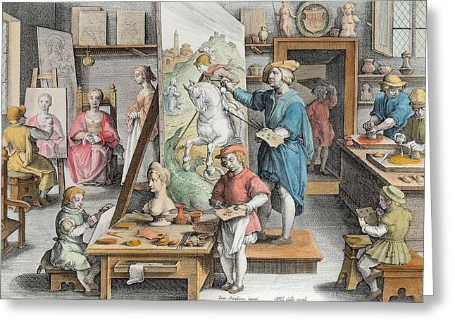 Apprentice Greeting Cards - The Invention Of Oil Paint, Plate 15 Greeting Card by Jan van der Straet