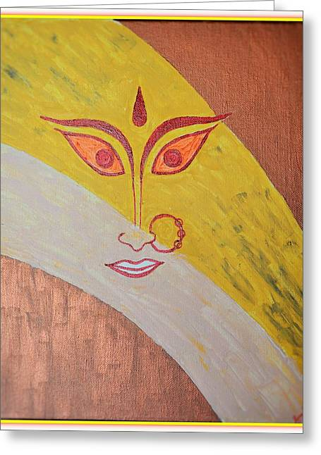 Goddess Durga Paintings Greeting Cards - The Invincible Goddess Greeting Card by Sonali Gangane