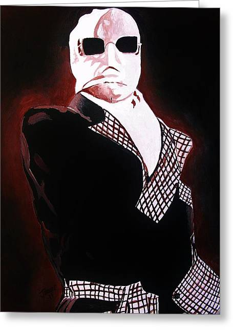 Claude Raines Greeting Cards - The Invisible Man Greeting Card by Jeremy Moore