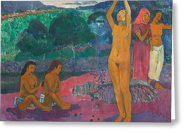 Tahiti Greeting Cards - The Invocation Greeting Card by Paul Gauguin
