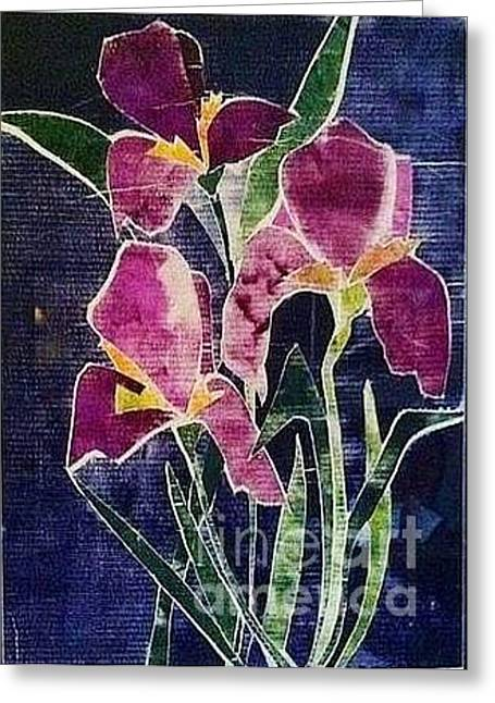 Signed Reliefs Greeting Cards - The Iris Melody Greeting Card by Sherry Harradence