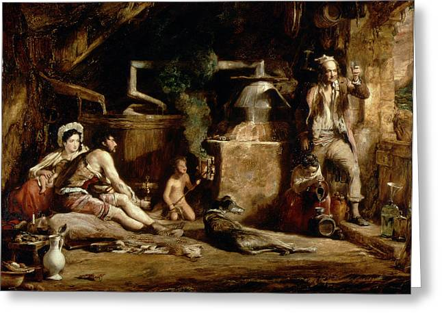 Moonshine Greeting Cards - The Irish Whiskey Still, 1840 Oil On Panel Greeting Card by Sir David Wilkie