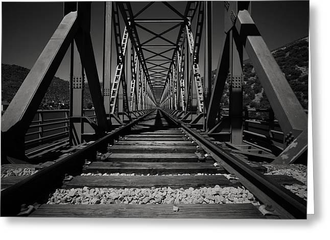 Metal Bridge Greeting Cards - The Iron Bridge Greeting Card by Antonio Jorge Nunes