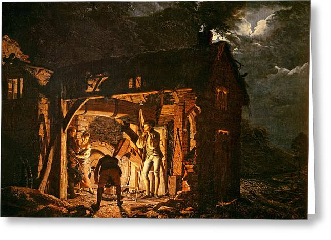 Moonlit Night Greeting Cards - The Iron Forge Viewed From Without, C.1770s Oil On Canvas Greeting Card by Joseph Wright of Derby