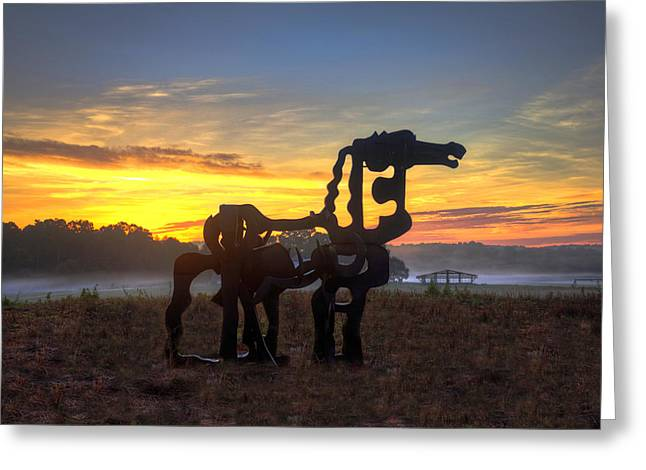 The Iron Horse Dawn Greeting Card by Reid Callaway