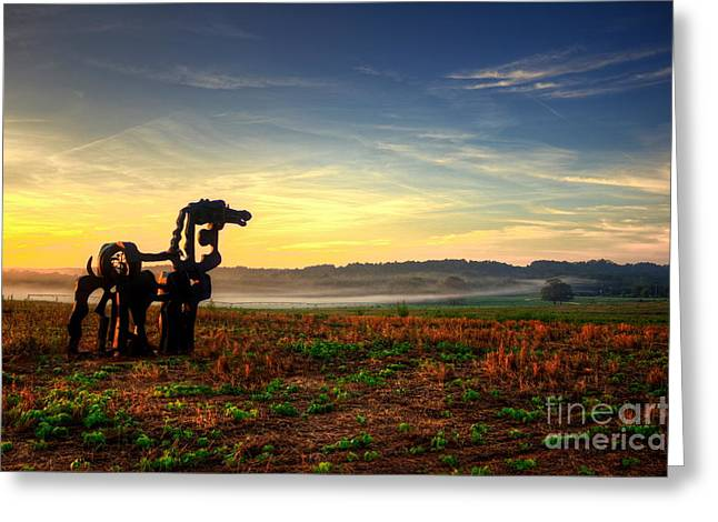 The Iron Horse Distant Fog Greeting Card by Reid Callaway