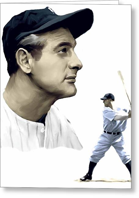 Fame Drawings Greeting Cards - The Iron Horse    Lou Gehrig Greeting Card by Iconic Images Art Gallery David Pucciarelli