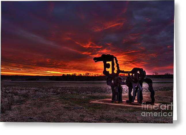 Georgia University Greeting Cards - The Iron Horse Red Sky Sunset Greeting Card by Reid Callaway